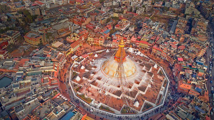 Luftaufnahme des Stupas von Bodnath, Kathmandu, Nepal