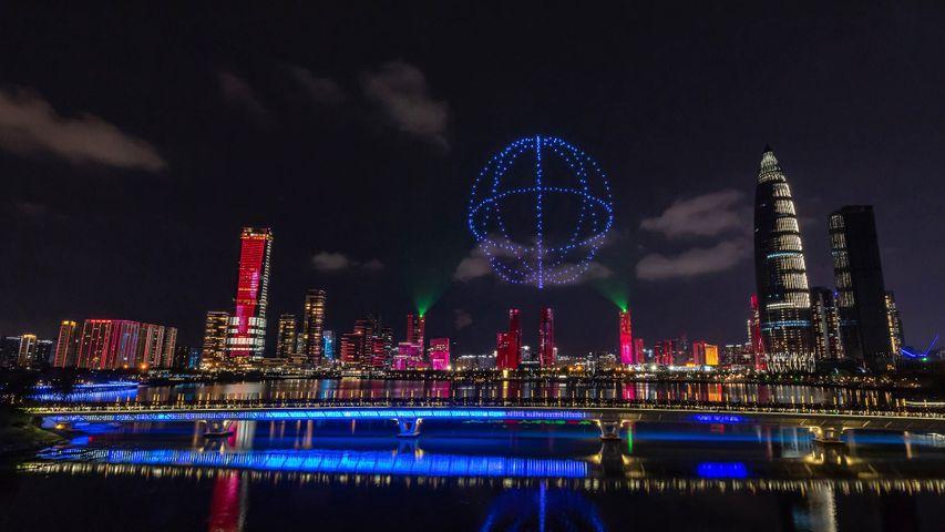 Drohnen erhellen den Himmel über Shenzhen, China