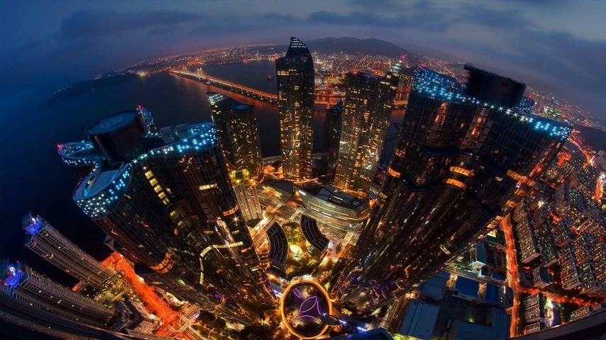 Skyline von Busan, Südkorea