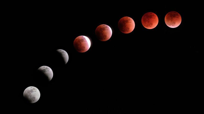 Komposit-Aufnahme der Mondfinsternis vom 31. Januar 2018. Fotografiert in Tokio, Japan