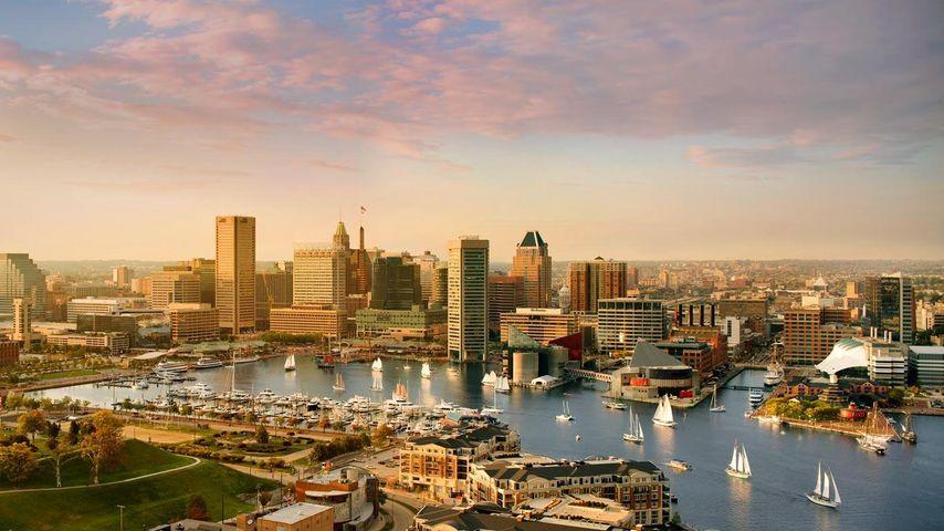 Skyline und innerer Hafen von Baltimore, Maryland