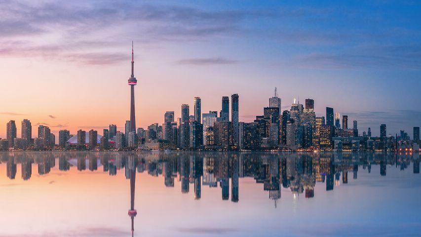 Die Skyline von Toronto im Sonnenuntergang