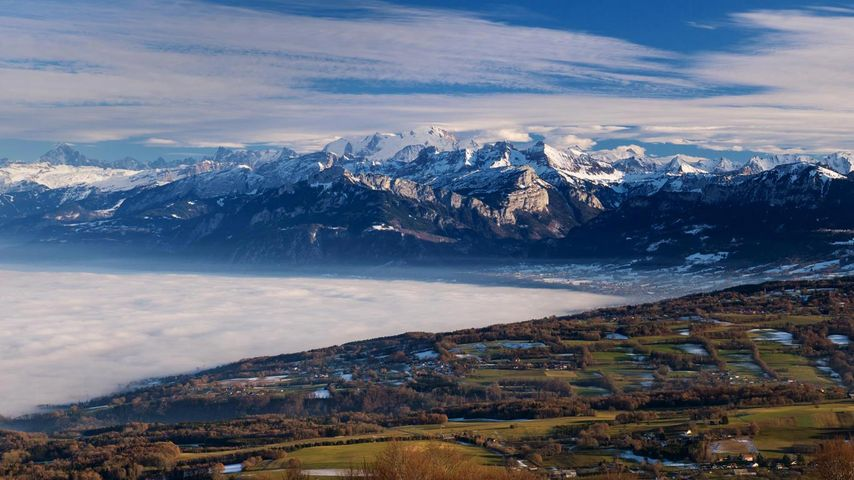 Mont Blanc-Massiv, Blick vom Mont Salève, Frankreich