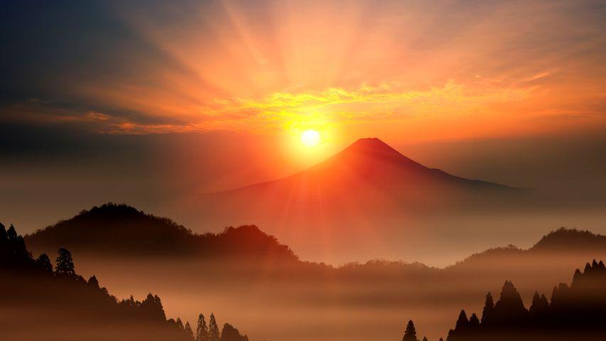 Sonnenaufgang am Fuji, Japan
