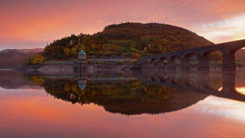 Die Talsperre Garreg Ddu Dam, Elan Valley, Wales, Großbritannien