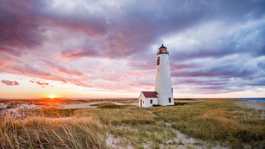 Leuchtturm Great Point Light auf der Insel Nantucket, Massachusetts, USA