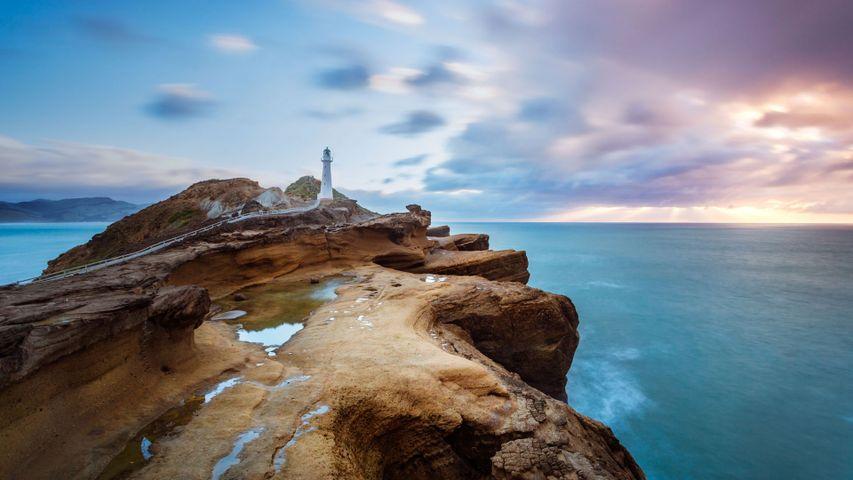 Castle Point-Leuchtturm in der Nähe von Castlepoint, Nordinsel, Neuseeland