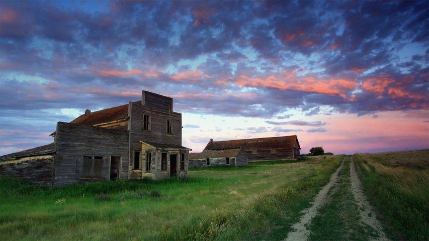 Verfallene Häuser in Bents, Provinz Saskatchewan, Kanada