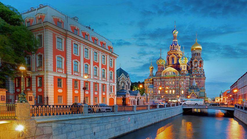 Gribojedow-Kanal und Auferstehungskirche in Sankt Petersburg, Russland