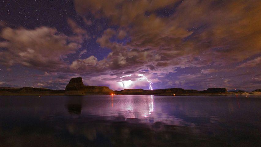 Gewitter über dem Stausee Lake Powell, Arizona, USA