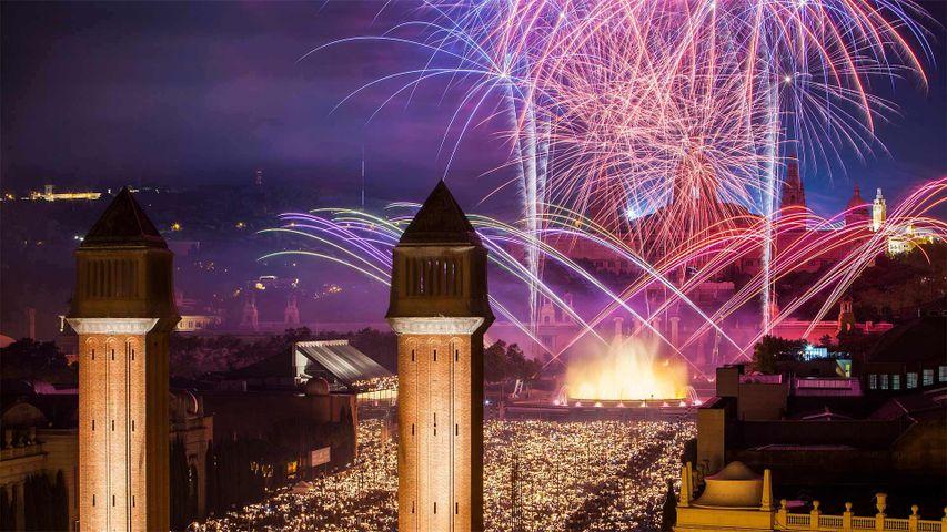 Feuerwerk während des La Mercè-Festivals in Barcelona, Spanien