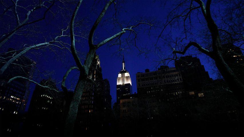 Das beleuchtete Empire State Building in New York kurz vor der Earth Hour 2011