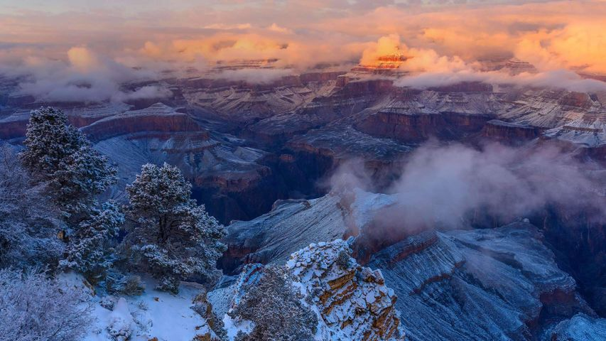 Winter am Isis Temple im Grand-Canyon-Nationalpark, Arizona, USA