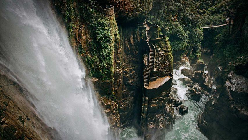 Agoyán-Wasserfall in der Nähe von Baños de Agua Santa, Ecuador