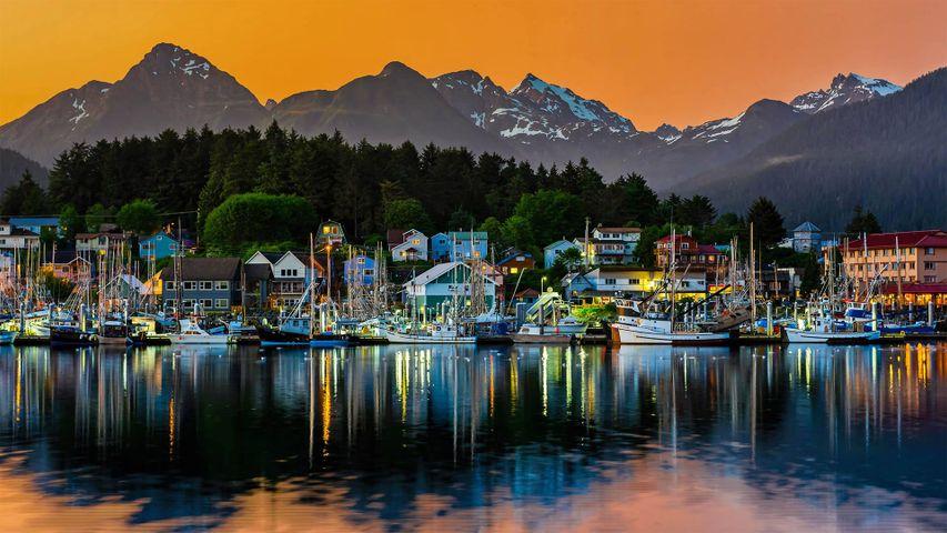 Blick auf den Hafen von Sitka, Alaska, USA