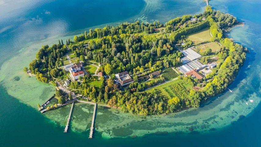 Luftbild der Insel Mainau im Bodensee, Baden-Württemberg